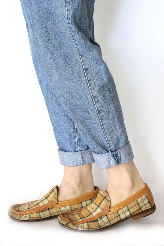 Vintage 80s Preppy Brown Plaid Loafers Flat Leather Slip