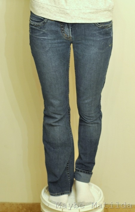 Turn boot cut jeans into skinny jeans. an incentive to get skinny