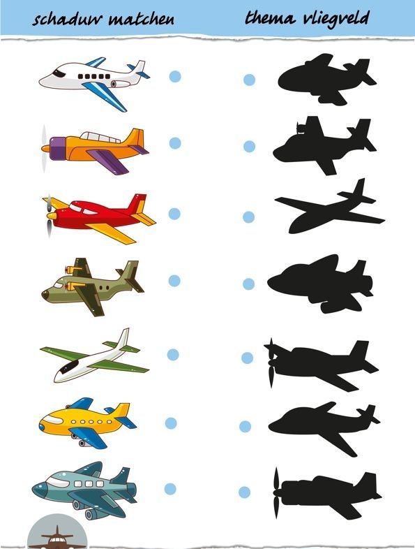 matching plane shadow worksheet  |   Crafts and Worksheets for Preschool,Toddler and Kindergarten
