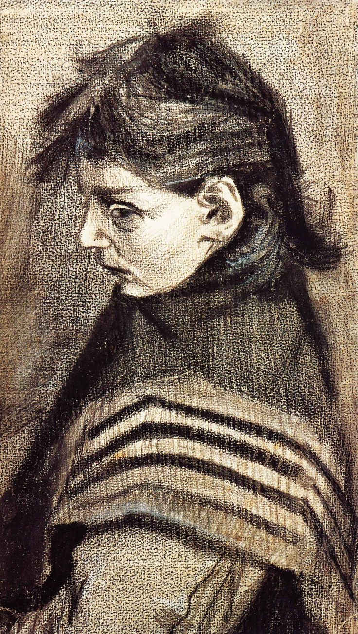 1883 Vincent Van Gogh Sien's Sister with Shawl Chalk and Graphite 43.3x25 cm Otterlo, Collection Kröller Müller Museum