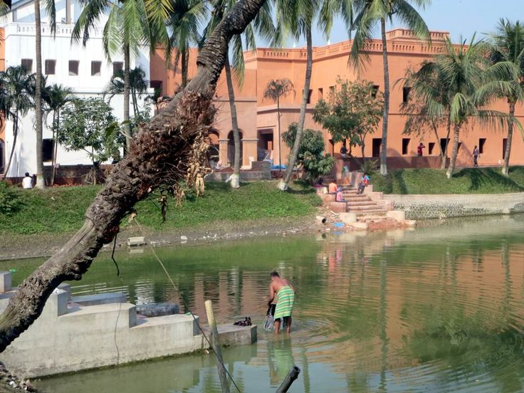 A large pond is next to Sadarbari (1901), a rajbari (Raj-era palace) at Sonargaon, 30 kilometers southeast of Dhaka, Bangladesh.