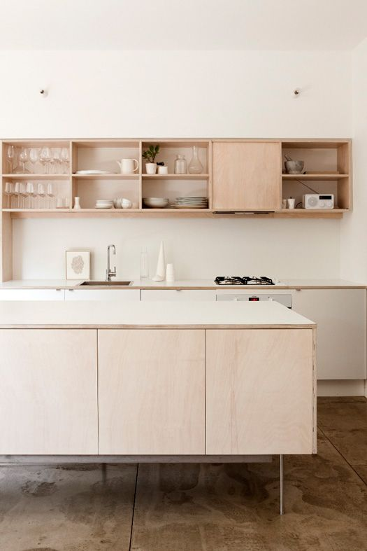 plain simple ply/veneer kitchen with open overhead cupboards
