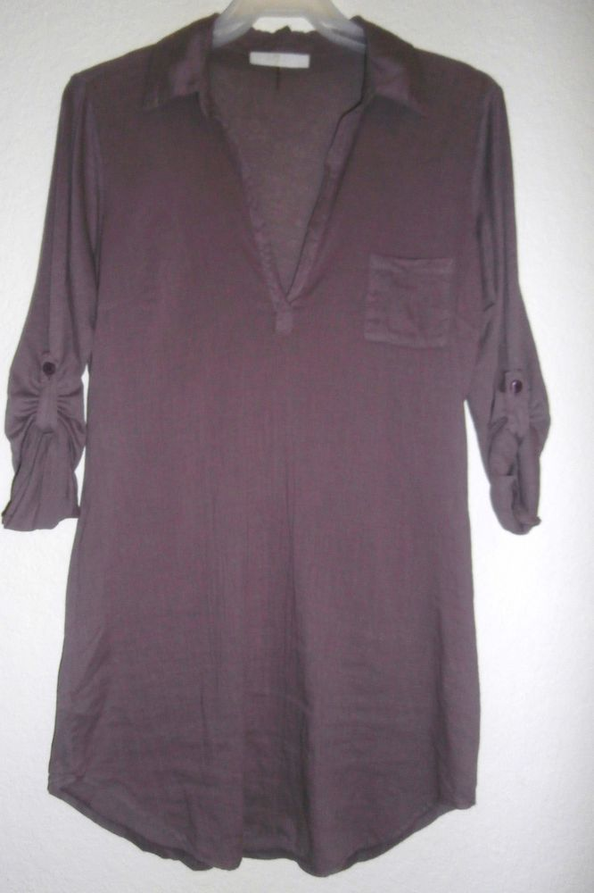7 For All Mankind Ladies Blouse Semi Sheer Purple Long Roll Up Sleeves Size S…