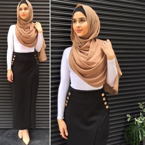 Pencil skirt with hijab- Hijab spring 2017 – Just Trendy Girls