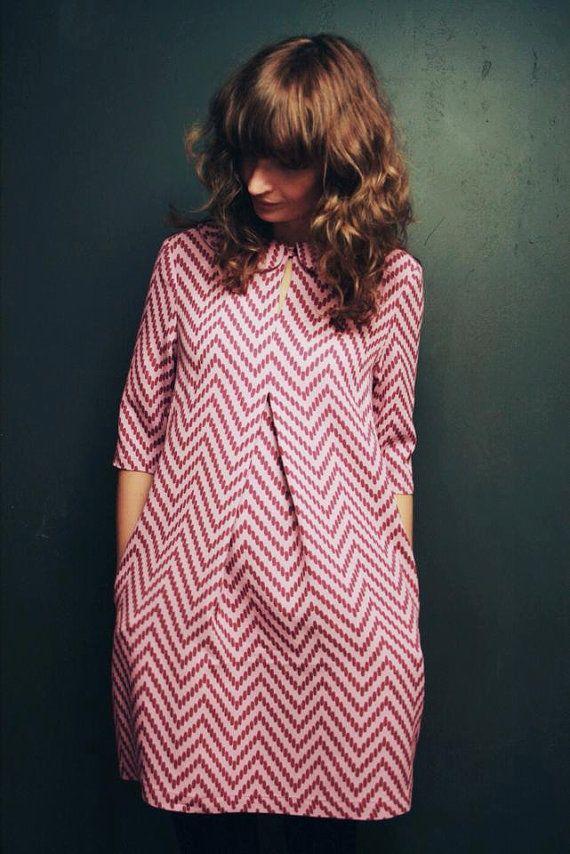 short pink chevron dress | single front bodice inverted curve pleat, A-line