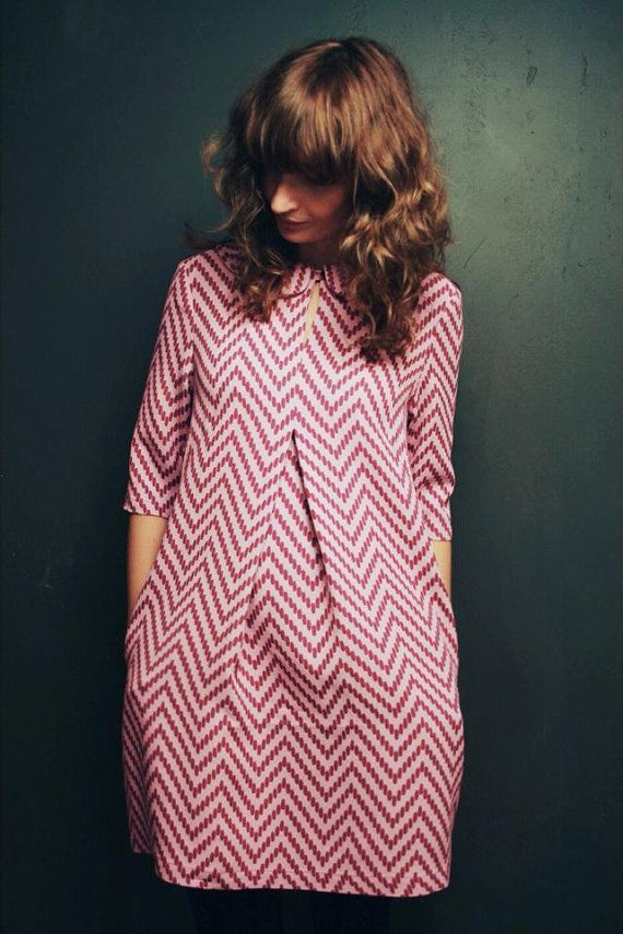 Rose robe Chevron nouveau Look forme robe robe de Peter par OffOn...super belle!