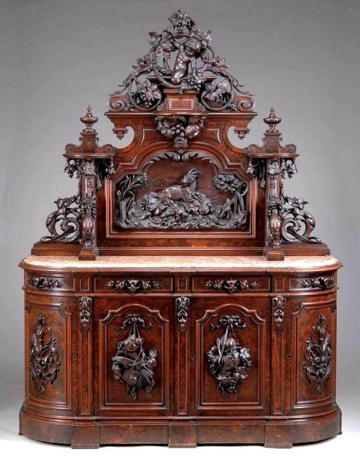American Victorian Furniture - Victorian furniture was massive and heavily carved, drawing themes from Gothic, French, Italian, and other styles of the past. Other styles included were Greek Revival or Empire, Oriental and Turkish.