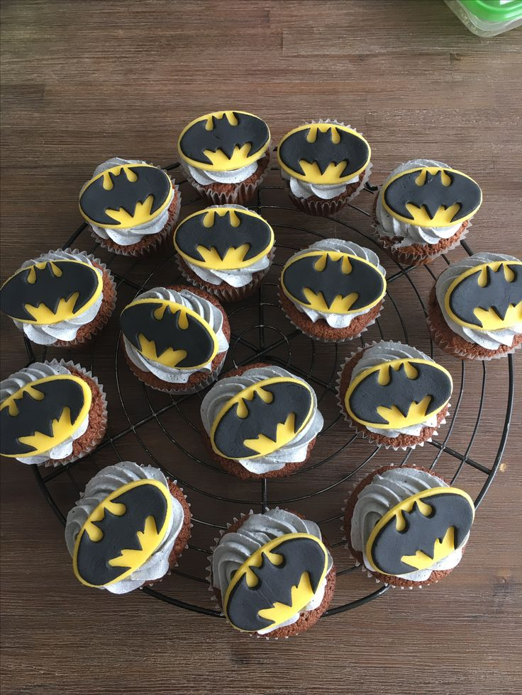 "Batman!! They were yummy I heard 😊! All hand made, no shapes used for the ""logo""... was a bit of work but worth it!"