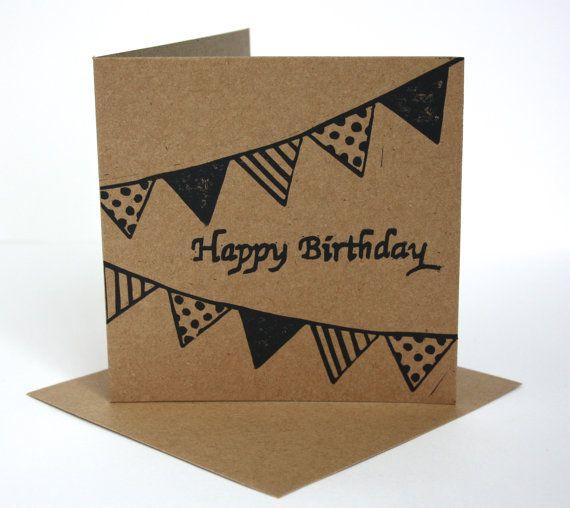 Eco Friendly Birthday Card.  Happy Birthday Card.  Linocut Card For Birthdays.  Birthday Bunting Card.