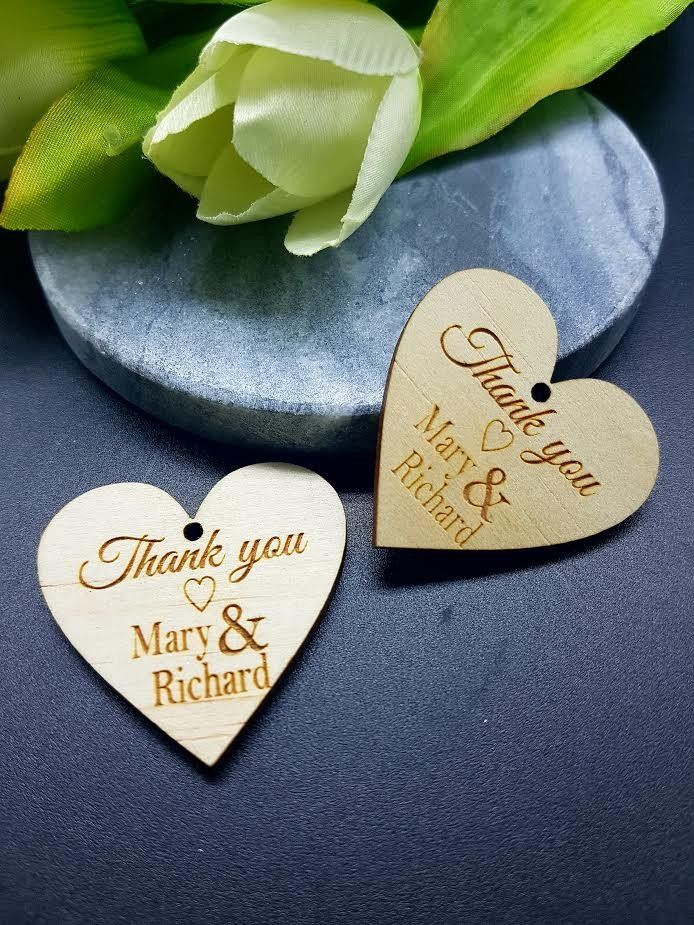 10 x Mini wooden thank you hearts with string hole