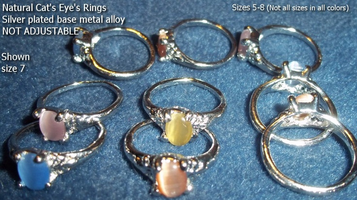 Very Nice Cat's Eye's Rings - ONLY $5.00 each! NOT cheap adjustable rings! Mostly size 7, but range from 5-8. These are great rings for the price!    If you need a specific color in a certain size, best to contact me first!