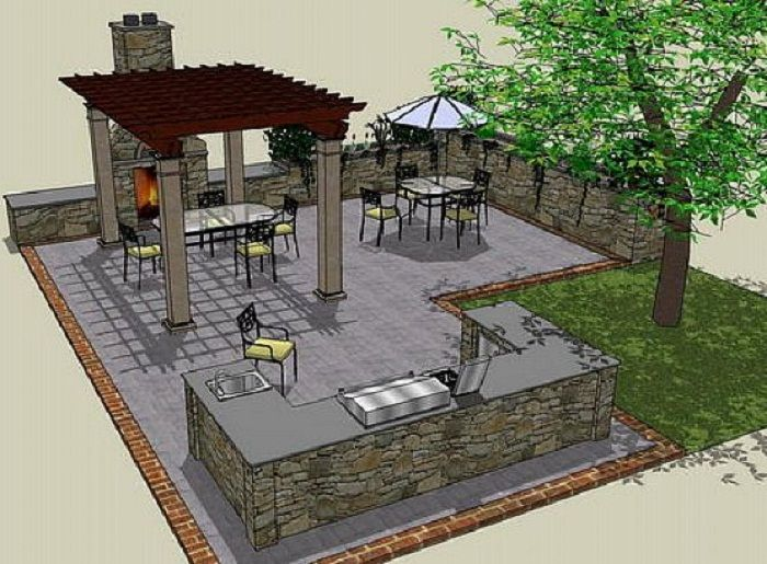 Outdoor kitchen ideas drawing plans http lanewstalk for Outdoor kitchen area ideas