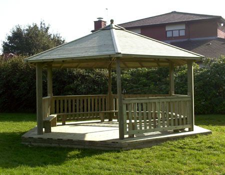 Classic School Gazebos are 4m and 6m in diameter and can be used as outdoor classrooms or parent waiting areas. With internal seats and a number of roof and side options. The popular 4m gazebo when used as an outdoor classroom has a capacity of around 30 students.