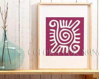 Lámina Sol Azteca, para imprimir, lamina decorativa, ilustración sol, arte azteca, arte Mexicano, lámina imprimible, decoración étnica