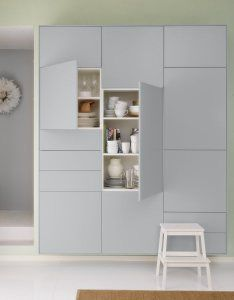 Sektion1. back side of kitchen idea. Bar? White IKEA doors with grooves in it as a highlight.