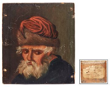 ADOLPH TIDEMAND MANDAL 1814 - CHRISTIANIA 1876  Figure Study, 1832  Oil on board, 9,5x8,3 cm  Signed on label on the back: Adolph Tidemand