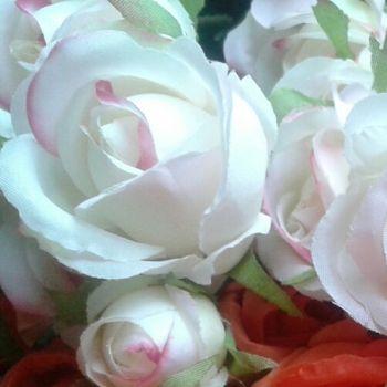 Fehér-rózsaszín rózsabimbó szál