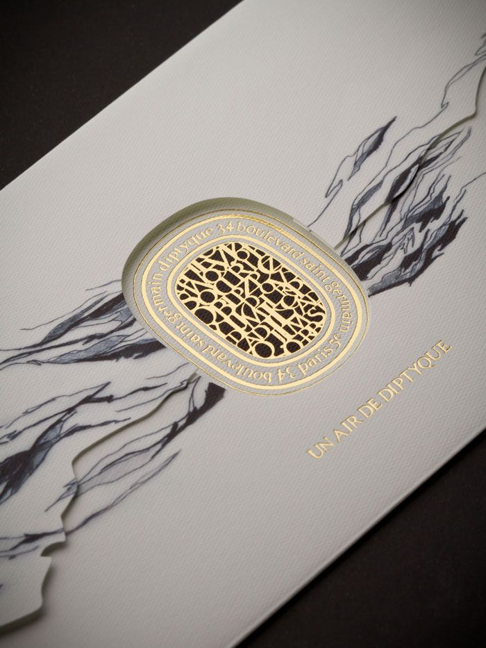 packaging design and print graphic identity for diptyque perfume air diffuser by r pure