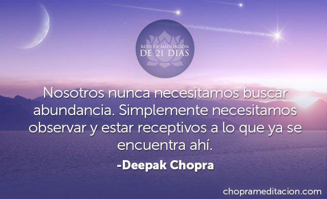 ¡Invita más abundancia a tu vida! Medita con Deepak Chopra e Ismael Cala – regístrate y participa gratis en http://bit.ly/1onqXNG