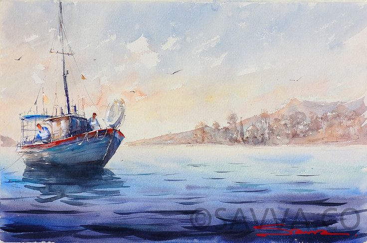 Fishing boat with Tekke in the distance - Savva Watercolor