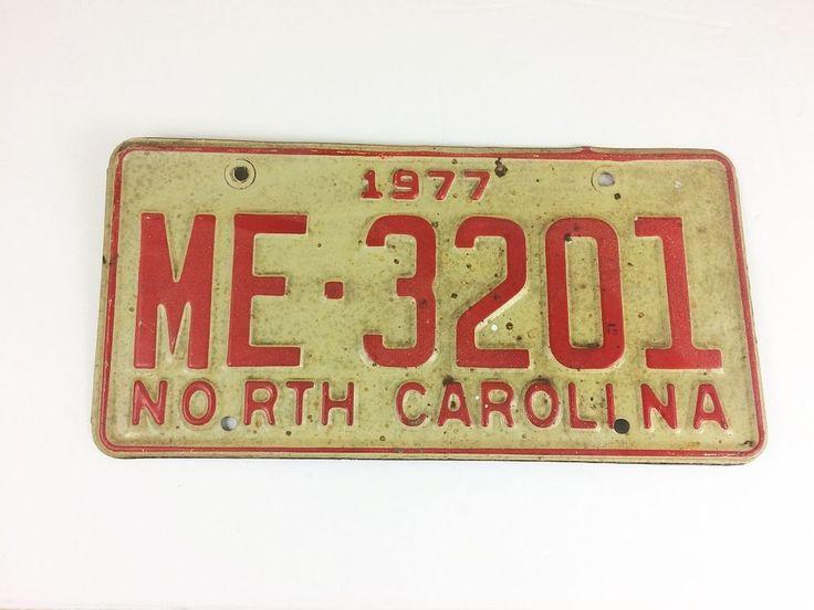 Vintage North Carolina 1977 License Plate Yom Car Auto nc red me-3201 1970s #vintage #rustic #yom #licenseplate