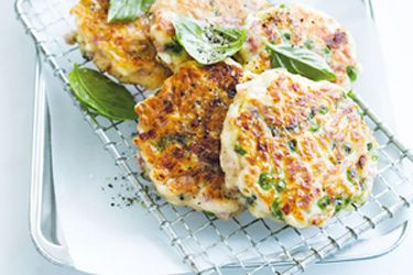 Ham, pea and basil fritters