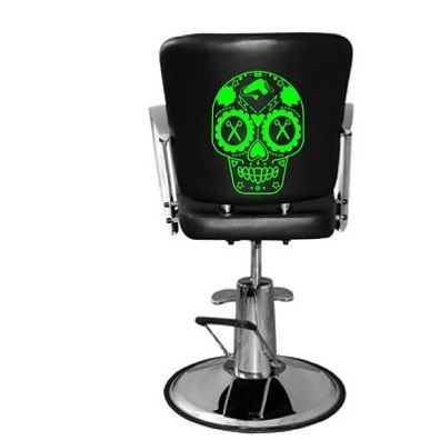 Chair decal! Decorate your station! 25.00 free shipping. #shop #etsy #Tuesday #sugarskull #neon #green #neongreen #hairstylist #salondecor #salon #awesome #cool #beautician #beauty #hipster #decal #sticker #decor #trend #badass #haircut #skull #dayofthedead #sell