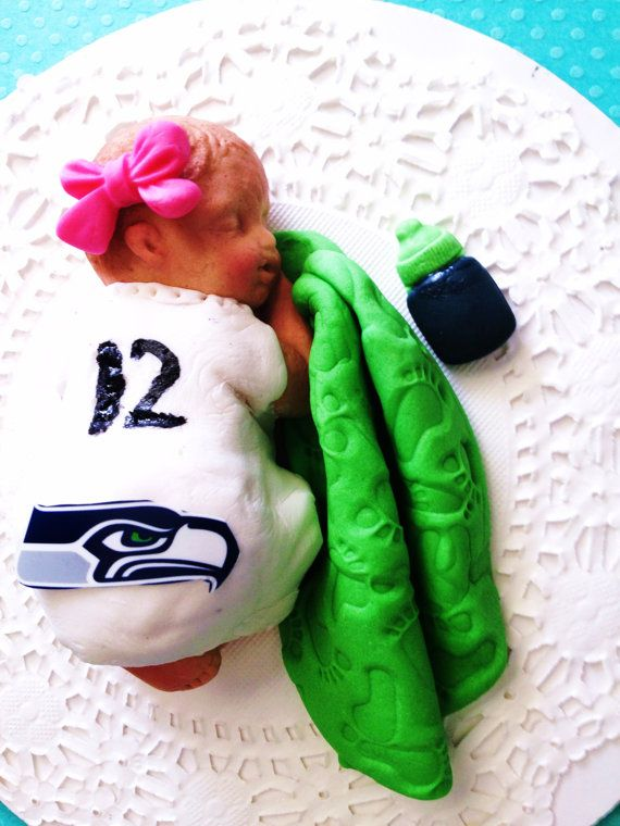 This big baby girl is going to the SeaHawks game with Daddy.. Birthday, Baptism, Cake topper, Baby Shower via Etsy