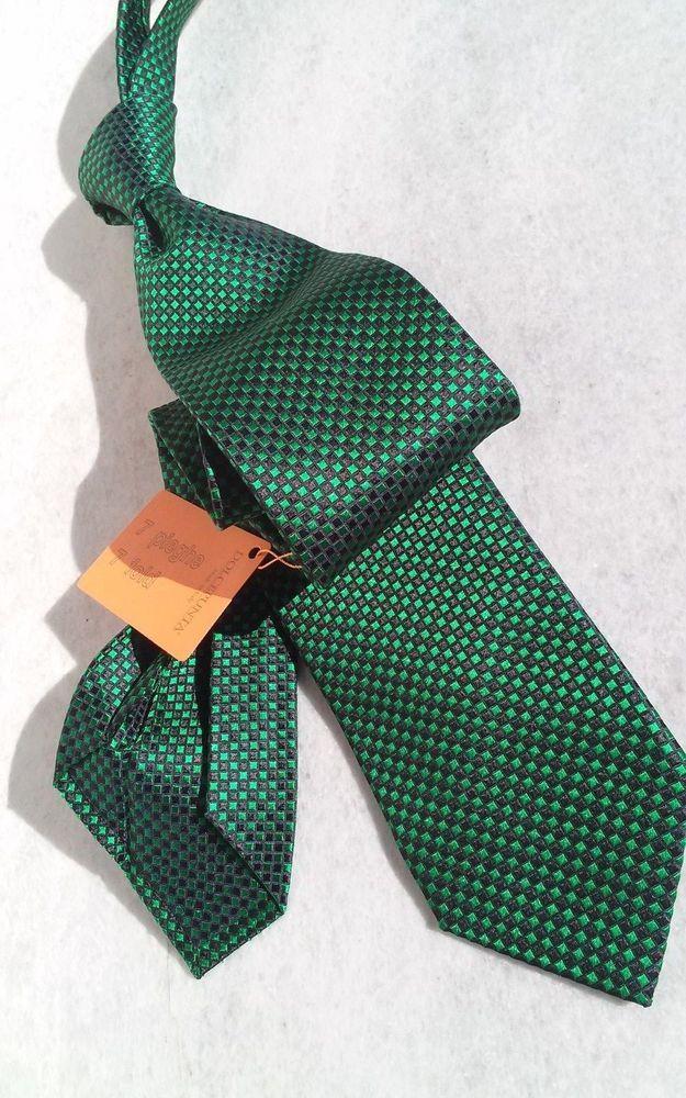NWT Dolcepunta Black Green chessboard squares pattern silk sevenfold necktie #Dolcepunta #NeckTie