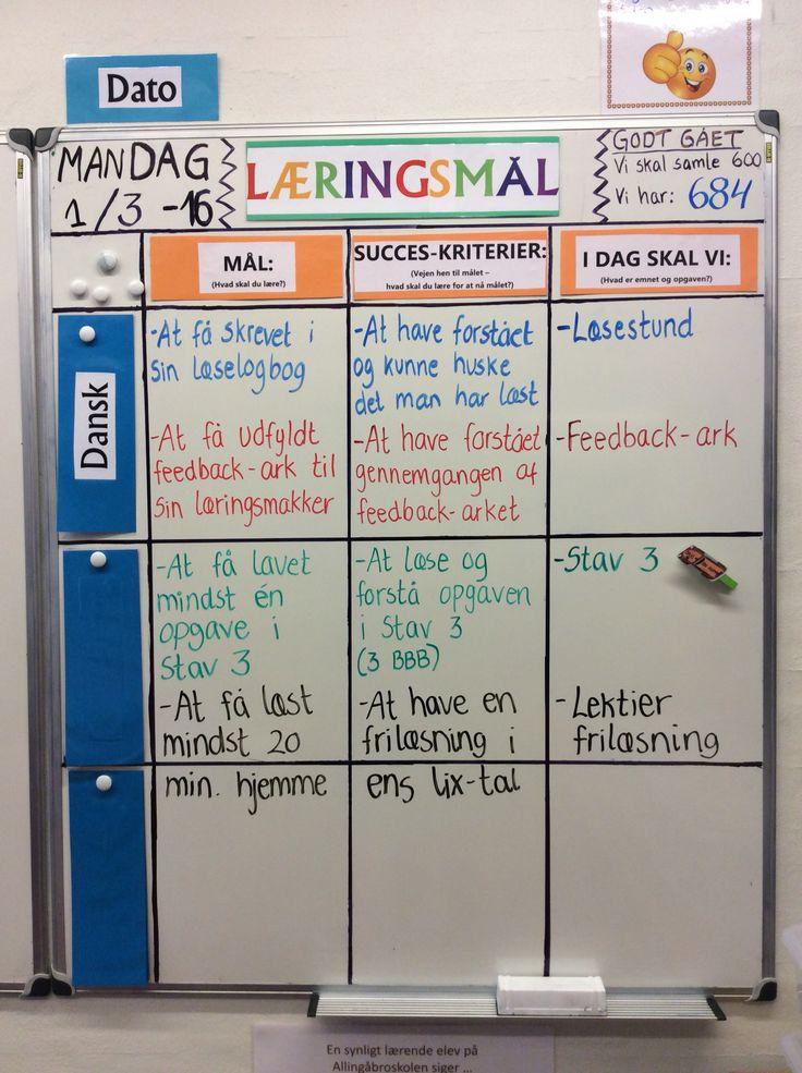 Dagens læringsmål-tavle i min 3 klasse.... Feedback er lige så stille ved at blive en del af de daglige rutiner...
