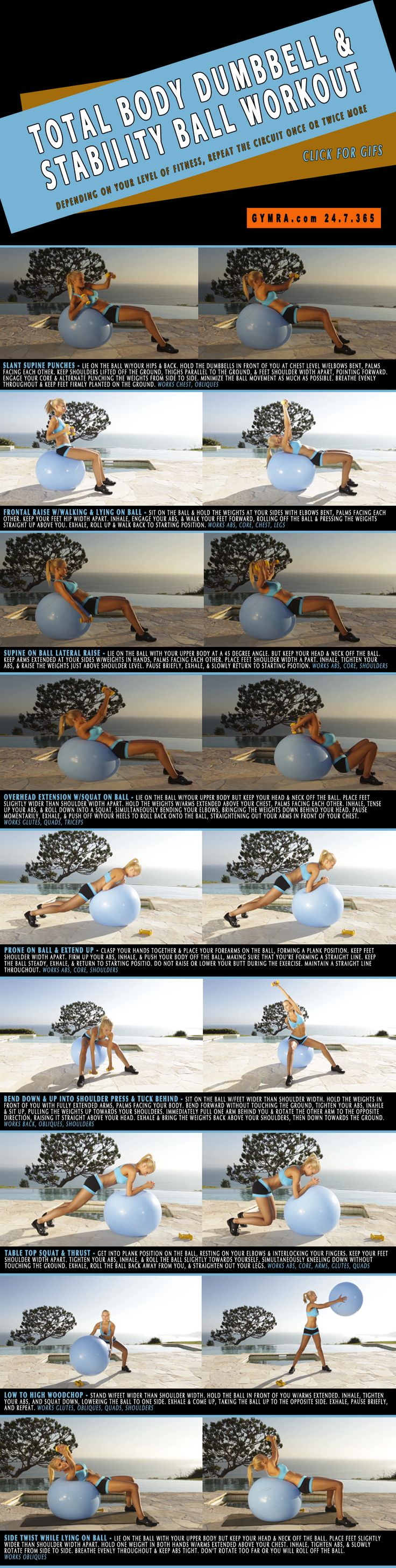 Total Body Workout with Dumbbells and a Stability Ball. Engage all your muscles strengthen your core while improving stability. Click the image to see the moves in GIF form. #fitness #exercise #workout #abs #health #weightloss