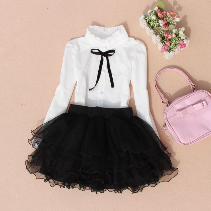 New 2016 Autumn Girls Blouse Children Clothing White Cotton Shirt School Girl…