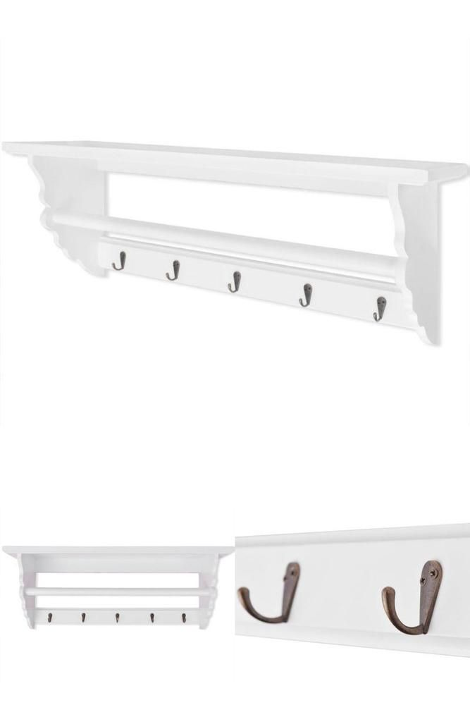 White Wall Mount Coat Rack Bedroom Entryway Clothes Hanging Hooks Hall Organiser