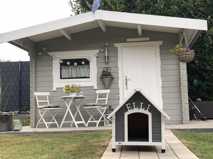 Vintage Look grau weiß Shabby chic Gartenhaus weiß