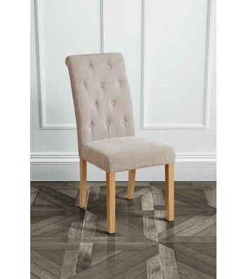 Genoa Sherlock Mink Upholstered Scroll Back Dining Chair