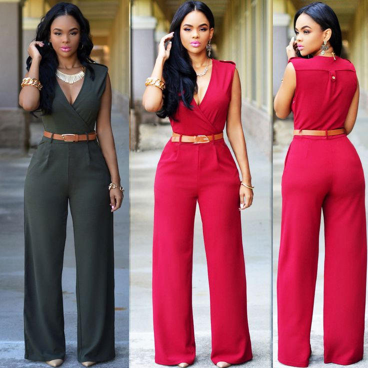 Sexy Womens sleeveless V meck Bandage Bodycon Jumpsuit Romper Trousers Clubwear #LF #Jumpsuit