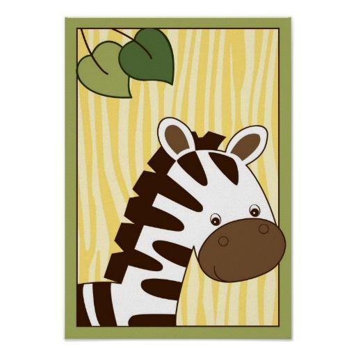Safari Jungle Zebra Nursery Wall Art Print