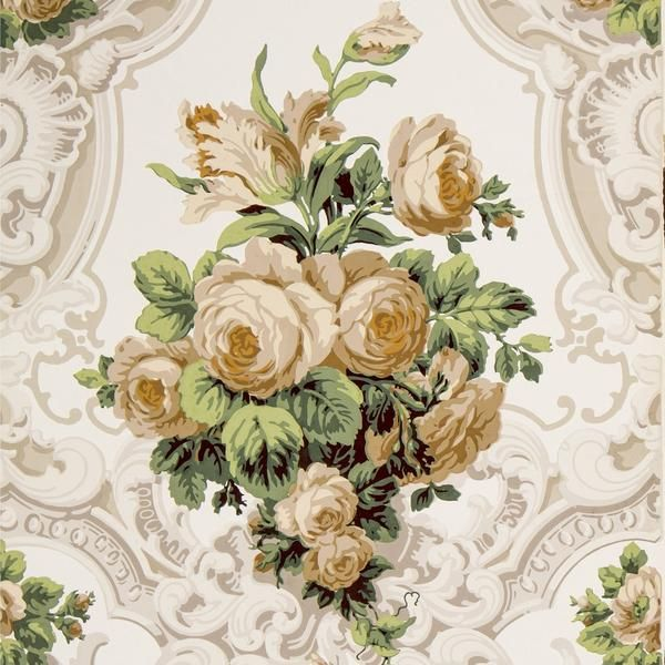 Large Rose Bouquets In Rococo Scrolls Antique Wallpaper Remnant Antique Wallpaper Rococo Art Rococo