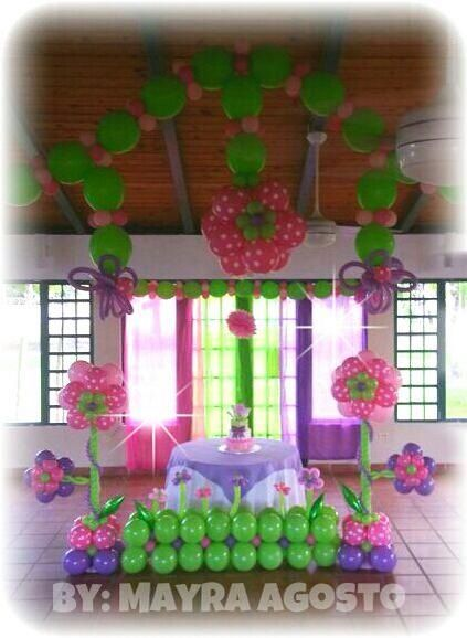 Flowers decoration for baby girl shower balloon for Baby clothesline decoration baby shower