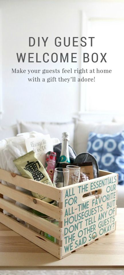 This winter, make your friends and family feel at home with this easy DIY guest welcome box from Blogger Lindsay, of Shrimp Salad Circus. This creative tutorial uses a wooden crate and a sample of BEHR Paint in Jade Dragon to create this welcoming gift basket. Learn how to make this thoughtful present that your guests will love.