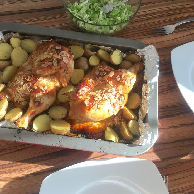 Honey-Mustard Chicken with potatoes