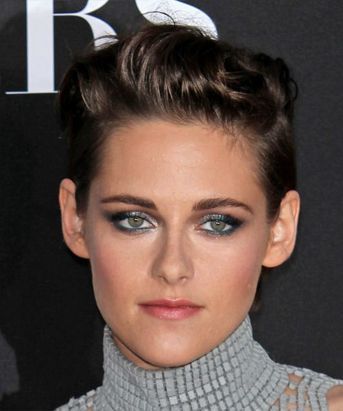 Kristen Stewart Hairstyle - Short Straight Casual - Dark Brunette