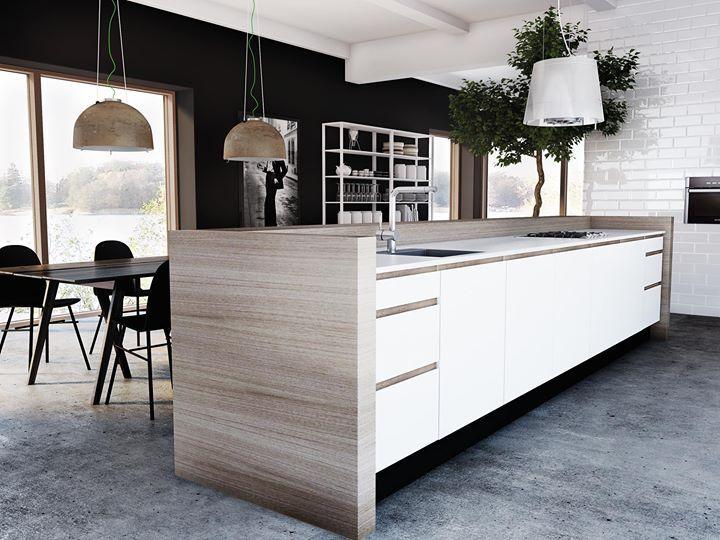 Hvitt kjøkken, benkeplate rundt kjøkkenøy, mixs av tre og hvitt, åpen løsning