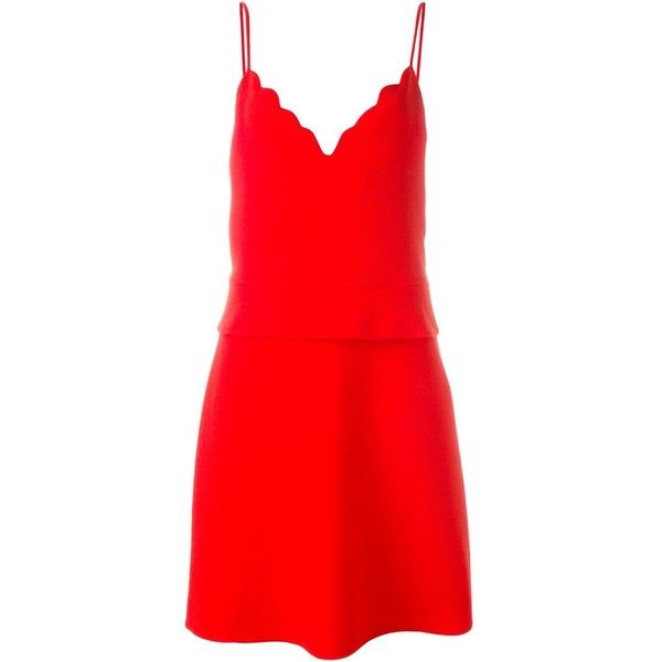 Carven Scalloped Cami Dress (£370) ❤ liked on Polyvore featuring dresses, red, camisole dress, red scallop dress, deep v neck dress, red spaghetti strap dress and red peplum dress