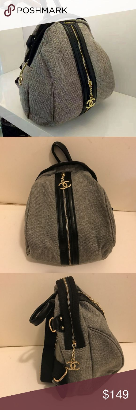 """Chanel shoulder bag Cross Body bag Gray zip Authentic Brand New Chanel VIP Gift Backpack Cross Body bag Color: Gray. Material Canvas. Hardware: Gold. Measure: H12 x W8 xD7"""" It was a VIP gift Form a Flagship store in Asia. Excellent Quality !! Can be use as a Backpack Or a cross body bag. comes with extra strap CHANEL Makeup Brushes & Tools"""