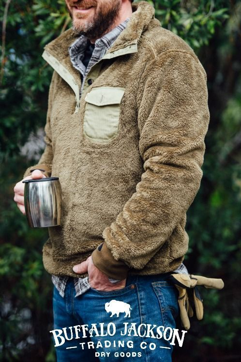 Men's fleece pullover by Buffalo Jackson Trading Co. Just right for fall tailgates and camping trips. Button-up placket, stand up collar, ribbed cuffs with thumb holes. Also available in Gunmetal & Moss Green. Shown here in Birchwood.