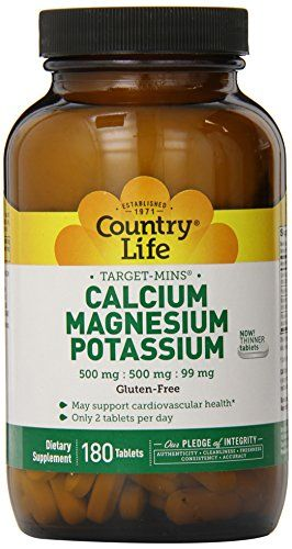 Country Life Target Mins Calcium Magnesium Potassium 500mg/500mg/99mg 180-Tablet ** Read more at the image link.