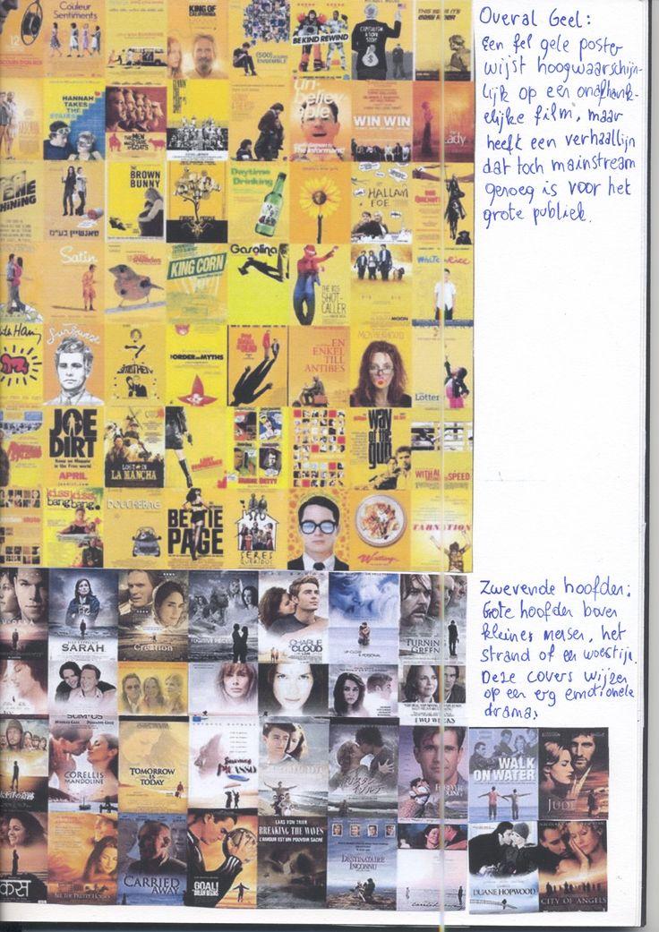 POSTER / COVER CLICHÉ'S : OVERAL GEEL : Een fel gele poster wijst hoogstwaarschijnlijk op een onafhankelijke film, maar heeft een verhaallijn dat toch mainstream genoeg is voor het grote publiek. -- ZWEVENDE HOOFDEN : Grote hoofden boven kleine mensen, het strand of een woestijn. Deze covers wijzen op een erg emotionele drama
