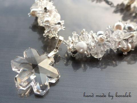 Zimní sněhová královna - sada náhrdelník dárek korálky elegantní bílá dáreček swarovski stříbrná perličky ohňovky rokajl perle něžné krystal voskové crystal sněhová vločka