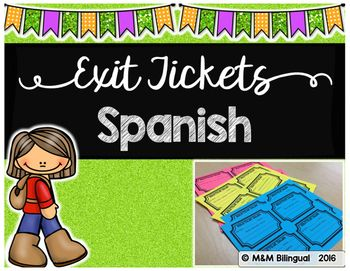 Exit Tickets IN SPANISH! Boletos de salida12 ready to print exit tickets to use after your lessons. These are great to check for understanding, student self-reflection, and informal assessments. Check out a FREEBIE HERENeed an Interactive Grammar Notebook in {SPANISH}?Check it out HERENeed Choice Boards for Guided Reading Centers in Spanish?Check these out HERE ENJOY!!!